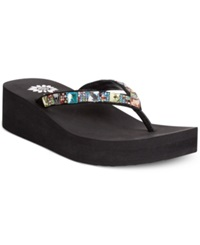 Yellow Box Sabbi Jeweled Wedge Thong Sandals Women's Shoes Multi