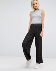 Monki Knitted Cropped Trousers Black Grey