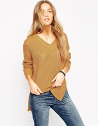 Asos Ultimate Chunky Jumper With V Neck And Side Splits Tobacco