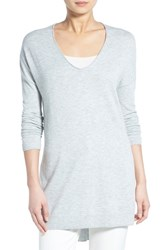 Trouve Women's Trouve V Neck Tunic Sweater Grey Light Heather