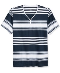 Inc International Concepts Men's Chillin Y Neck Striped T Shirt Only At Macy's Basic Navy