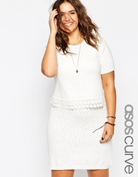 Asos Curve Double Layer Skater Skirt With Crochet Detail White