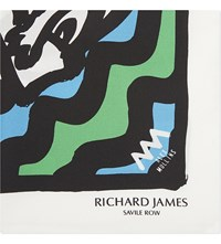 Richard James Happy Face Iii Silk Pocket Square Green Turquoise