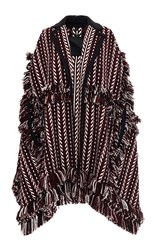 Burberry Knit Jacquard Blanket Cape Brown