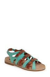 Women's Everybody 'Ideal' Strappy Flat Sandal Turquoise Brown Leather