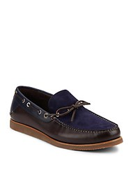 Salvatore Ferragamo Manila Leather And Suede Boat Shoes Blue