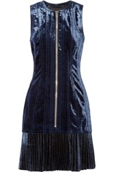 3.1 Phillip Lim Velvet And Metallic Chiffon Mini Dress Navy