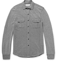 Orlebar Brown Orebar Inse Cotton Pique Shirt Charcoa Charcoal