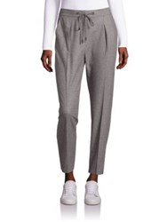 Peserico Blended Virgin Wool Pants With Ribbed Cuffs Charcoal