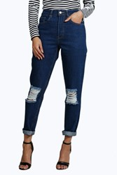 Boohoo 70S Wash Knee Rip Mom Jeans Blue
