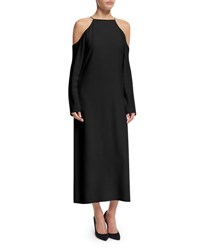 The Row Long Sleeve Cold Shoulder Maxi Dress Black