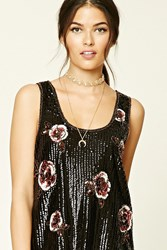 Forever 21 Contemporary Floral Sequin Top Black Pink
