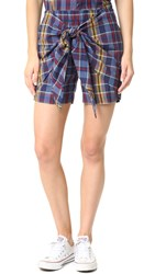 Madewell Plaid Tie Front Shorts Uniform Blue