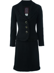 John Galliano Vintage Raw Edge Fitted Jacket And Skirt Suit Black