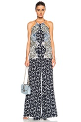 Stella Mccartney Halter Printed Jumpsuit In Abstract Blue Floral Animal Print