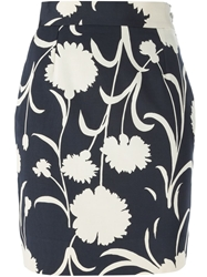 Moschino Vintage Floral Print Pencil Skirt Blue