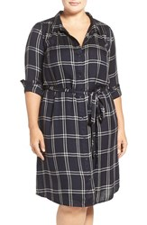 Lucky Brand Plus Size Women's 'Bungalow' Plaid Shirtdress Black Multi