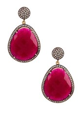 Gold Vermeil Ruby And White Topaz Drop Earrings Red