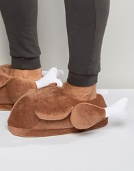 Asos Christmas Turkey Novelty Slippers In Brown Brown