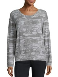 Monrow Camouflage Print Sweatshirt Dark Heather Grey