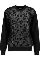Dkny Faux Leather And Mesh Paneled Cotton Blend Jersey Sweatshirt Black