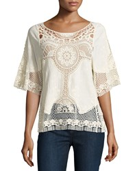 Liquid By Sioni Half Sleeve Crochet Trim Blouse Natural