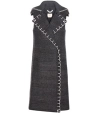 Edun Check Wool Blend Sleeveless Coat Grey