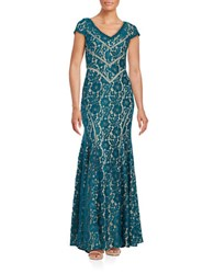 Xscape Evenings Lace And Mesh Gown Teal Khaki