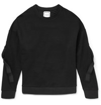 Wooyoungmi Grosgrain Trimmed Cotton Jersey Sweatshirt Black