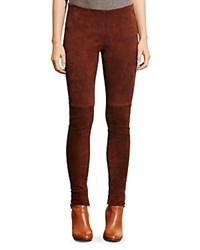 Ralph Lauren Stretch Suede Skinny Pants Mohican Brown