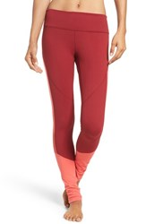 Zella Women's 'Premier' Mesh Inset Leggings Red Vine