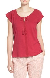 Lucky Brand Women's Embroidered Cotton Tee Raspberry