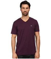 Lacoste Short Sleeve V Neck Pima Jersey Tee Shirt Merlot Purple Men's T Shirt