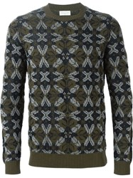 Dries Van Noten Intarsia Print Sweater Green