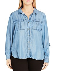 City Chic Miss Military Chambray Shirt Mid Denim