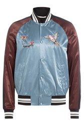 Valentino Satin Bomber Jacket With Embroidery Multicolor