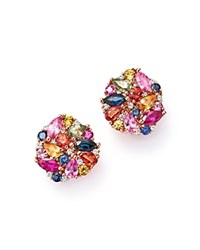 Bloomingdale's Multi Sapphire And Diamond Cluster Earrings In 14K Rose Gold Multi Rose