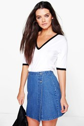 Boohoo Wrap Front Denim Skirt Mid Blue