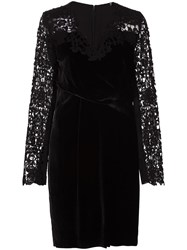 Elie Tahari Embroidered Sleeves Dress Black