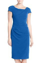 Adrianna Papell Women's Ruched Matte Stretch Crepe Sheath Dress Yves Blue