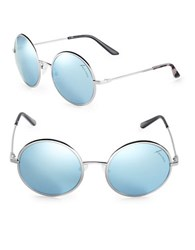 Brian Atwood 54Mm Round Sunglasses Silver