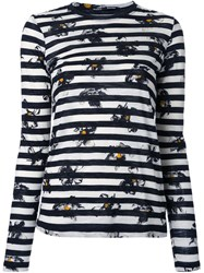 Proenza Schouler Falling Flower Print Striped T Shirt White