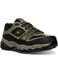 Skechers Men's After Burn Memory Fit Strike Off Wide Width Training Sneakers From Finish Line Pebble Black