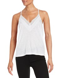 Buffalo David Bitton Lace Trimmed Racerback Tank White