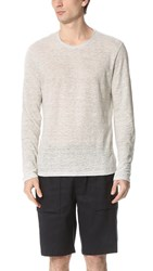 Vince Linen Feeder Stripe Long Sleeve Crew Neck Tee H Steel Linen White