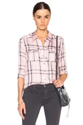 Paige Denim Mya Top In Pink Checkered And Plaid