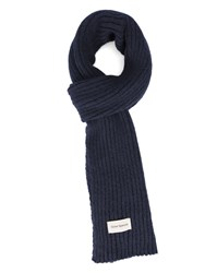 Oliver Spencer Navy Large Stitch Wool Scarf Blue