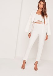 Missguided D Ring Hem And Waist Cigarette Trousers White White