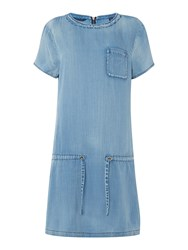 Maison Scotch Short Sleeved Tie Waist Dress Blue