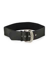 Fashion Focus Faux Leather Accented Belt Black